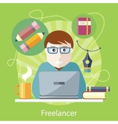 Freelancer copywriter journalist at computer vector
