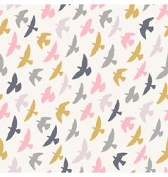 Seamless pattern of flying birds pastel vector