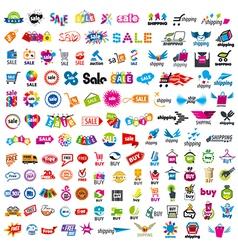 Large set of logos shopping vector