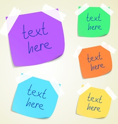 Set of colorful sticky memo notes vector