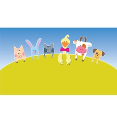 Cartoon farm animals day vector