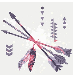 Grunge of different ethnic arrows with feath vector