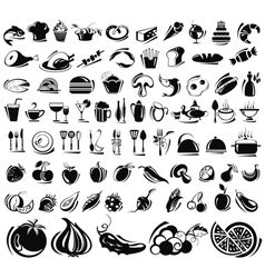 Black food icons vector