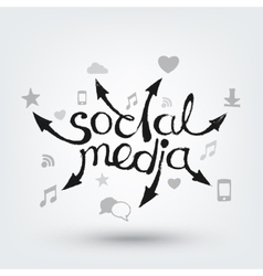 Social media text design hand drawn arrows with vector