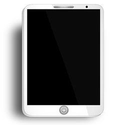 Tablet with blank screen - white tablet with blank vector