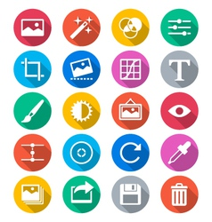 Photography flat color icons vector