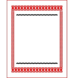 Frame for cross-stitch embroidery red colors vector