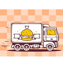 Truck free and fast delivering burger wit vector