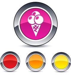 Icecream round button vector