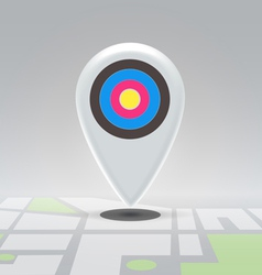 Targeted pin over city block map vector