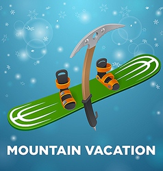 Mountain vacation green snowboard and kirks on vector