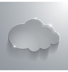 Gray eco glossy glass cloud icon vector