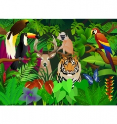Wild animal in the jungle vector