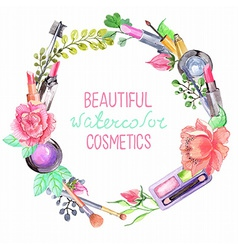 Watercolor cosmetics set vector