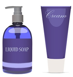 Purple liquid soap bottle and cream tube vector