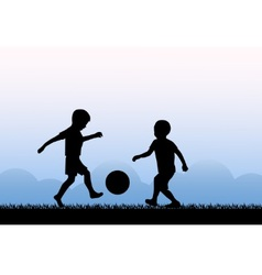 Kids playing soccer vector