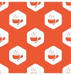 Orange hexagon hot soup pattern vector