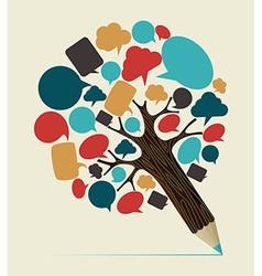 Social media concept pencil tree vector