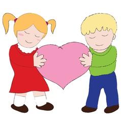 Boy and girl carry the heart cartoons vector