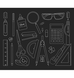 Stationery tools set black outlines vector