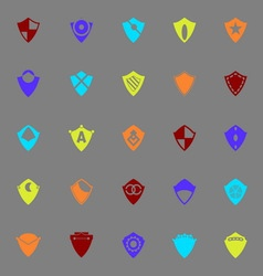 Design shield color icons on gray background vector