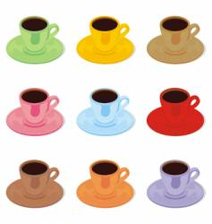 Colored espresso cups and saucers vector