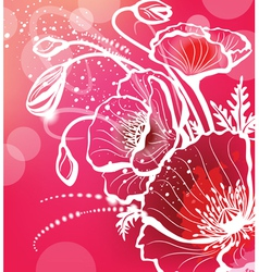 Background with flowers poppy vector