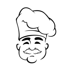 Happy european chef in toque hat vector