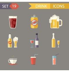 Retro flat alcohol beer juice tea wine drink icons vector