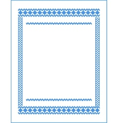 Frame for cross-stitch embroidery blue colors vector