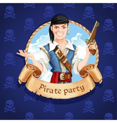 Cute pirate banner for pirate party vector