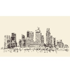 Singapore big city architecture vintage engraved vector