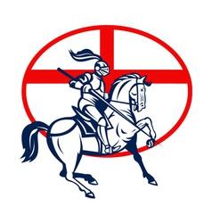 English knight riding horse england flag circle vector