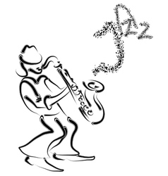 Stylized saxophone and musician vector