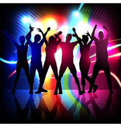Silhouettes of party people dancing vector