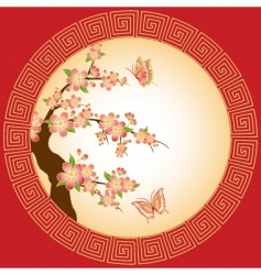 Oriental cherry blossom vector