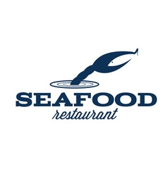 Seafood restaurant with claw and fish vector