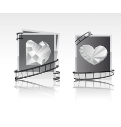 Black-white snapshots with diamonds vector