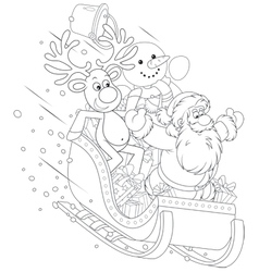 Santa reindeer and snowman in a sleigh vector
