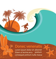 Surfer and sea wave tropical island vector