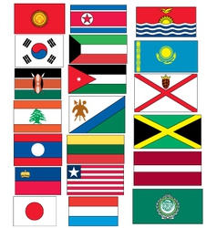 Set of 20 flags countries started with j k l vector