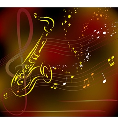 Saxophone on abstract background vector