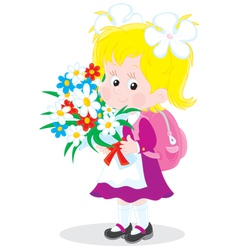 Schoolgirl with flowers vector
