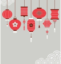 Chinese new year background with lanterns vector