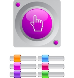 Pixel hand color round button vector
