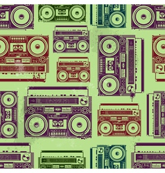Old-school tape recorders seamless texture vector