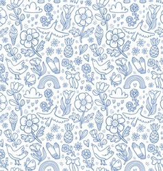 Summertime blue seamless pattern vector