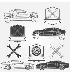 Auto service or repair labels vector
