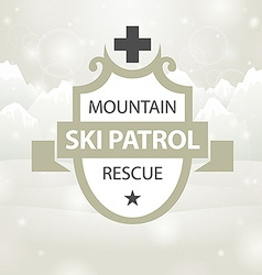 Logotype mountain ski patrol rescue vector