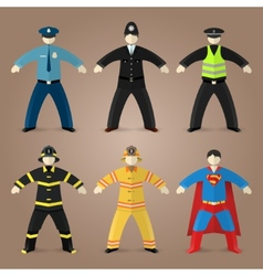 Professions set of policeman fireman and superman vector